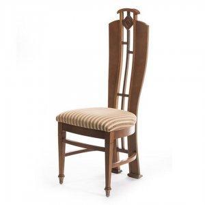 Καρέκλα ξύλινη Art Deco με ριγέ ύφασμα 46x46x114 εκ