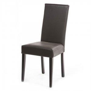 Καρέκλα Οthon καφέ δερμάτινη με ξύλινα πόδια 45x45x98 εκ