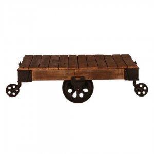 Τραπέζι σαλονιού ξύλινο με μεταλλικές ρόδες 130x75x45 εκ