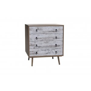 Boho ξύλινη συρταριέρα με τέσσερα συρτάρια 80x39x80 εκ