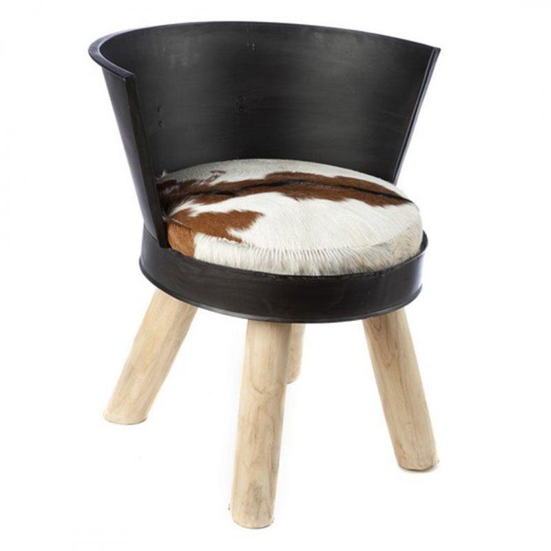 Καρέκλα σκαμπό Mona Galvani από δέρμα και ξύλο 61x61x68 εκ
