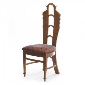 Art Deco ξύλινη καρέκλα και ύφασμα με ρόμβους 46x46x114 εκ