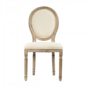 Καρέκλα ξύλινη ρετρό υφασμάτινη σε μπεζ απόχρωση 48x46x96 ε&k