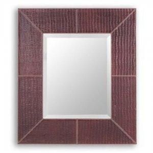 Καθρέπτης τοίχου Dash με πλαίσιο από μπορντό δέρμα 70x80 εκ