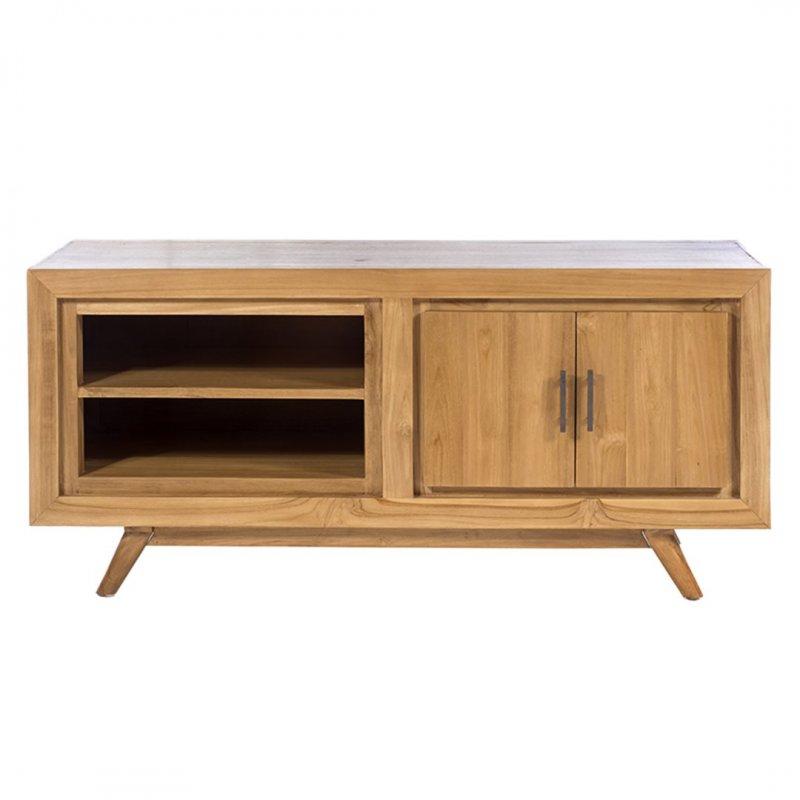 Ξύλινο έπιπλο τηλεόρασης από teak με ντουλάπι και ράφια σε φυσικό χρώμα 120x50x55 εκ