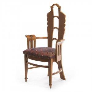 Πολυθρόνα ξύλινη Art Deco και ύφασμα με ρόμβους 46x46x114 εκ