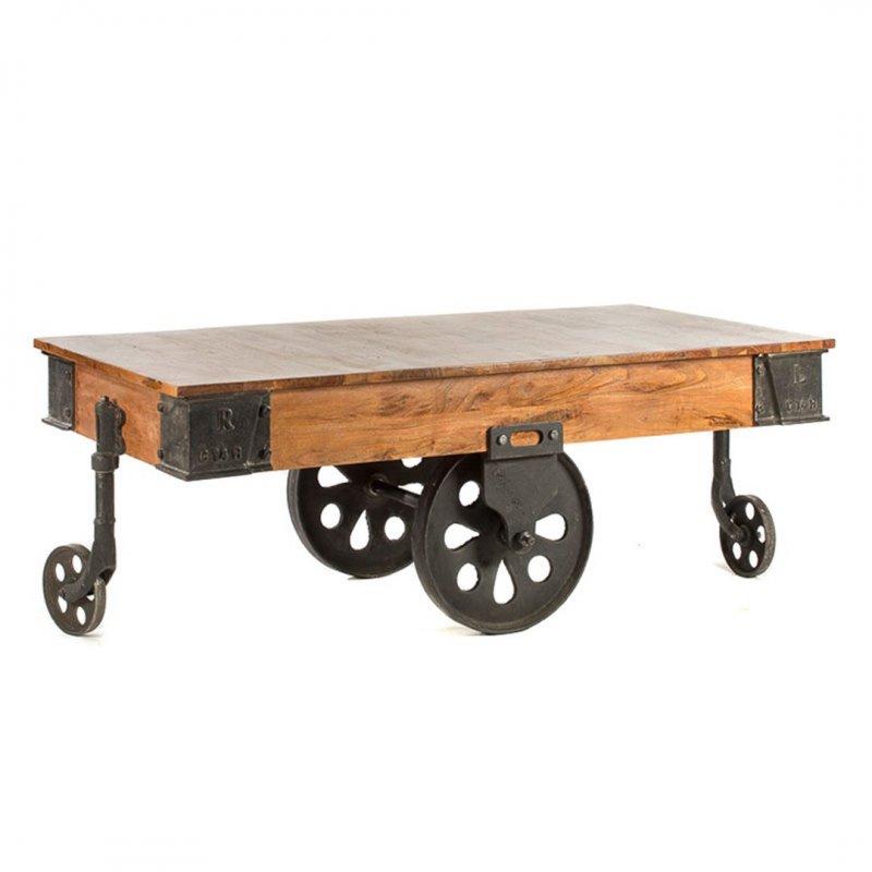 Industrial τραπέζι σαλονιού ξύλινο σε καφέ χρώμα 135x65x45 εκ
