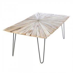 Τραπέζι Sun σαλονιού σε φυσικό χρώμα με μεταλλική βάση 120x60x43 εκ