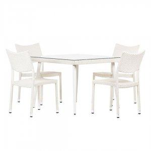 Τραπέζι εξωτερικού χώρου τετράγωνο με τζάμι από ράταν 1