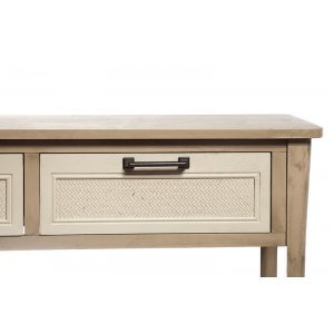 Κονσόλα ξύλινη μπεζ με λευκό και 2 συρτάρια από ρατάν 91&C