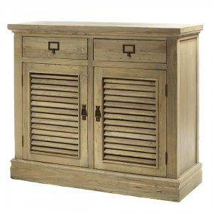 Ξύλινος μπουφές με δύο πόρτες και συρτάρια σε γκρ&iota
