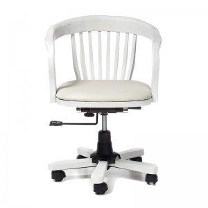 Καρέκλα γραφείου ξύλινη περιστρεφόμενη με δερμάτινο κάθισμα σε λευκή πατίνα 54x46x80 εκ