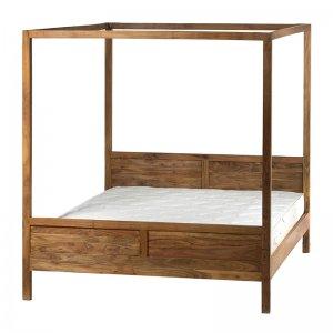 Κρεβάτι ξύλινο διπλό φυσικό χρώμα 210x166x181 εκ
