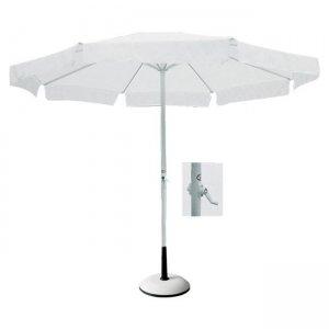 Ομπρέλα με σκελετό αλουμινίου λευκό και λευκό με ύφασμα φ200 εκ.