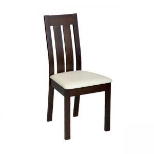Rego καρέκλα οξυά σκούρο καρυδί με pvc εκρού