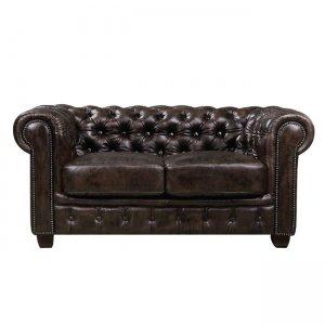 Chesterfield 689 2θέσιος δερμάτινος καναπές καφέ 160x92x72 εκ.