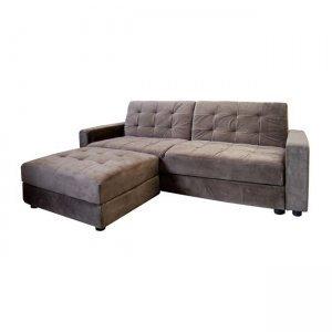 Jackson καναπές κρεβάτι και σκαμπώ με ύφασμα γκρι-καφέ
