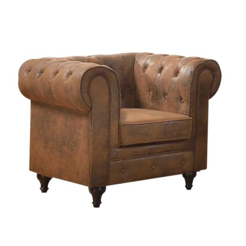 Chesterfield πολυθρόνα με καμηλό ύφασμα
