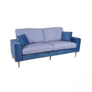 Dolce καναπές τριθέσιος με ύφασμα microfiber μπλε και μαξιλάρια ριγέ