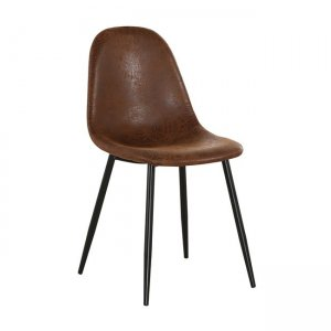 Celina καρέκλα μεταλλική μαύρη και ύφασμα suede καφέ