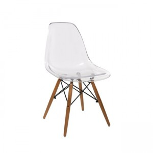 Art Wood καρέκλα διάφανη με ξύλινα πόδια σε φυσική απόχρωση