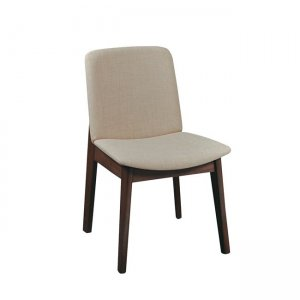 Emma καρέκλα από οξυά σε καρυδί χρώμα με μπεζ ύφασμα