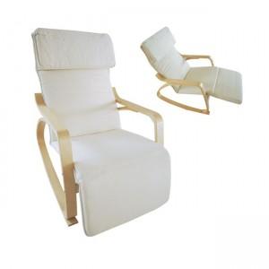 Hamilton super relax πολυθρόνα από σημύδα με ύφασμα λευκό