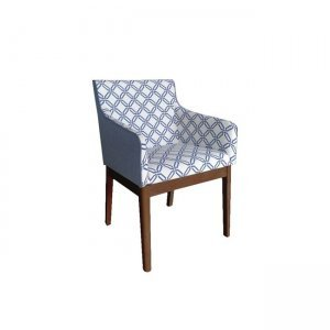 Kendal πολυθρόνα με καρυδί σκελετό και ύφασμα λευκό μ&pi