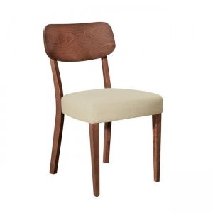 Kleber καρέκλα από οξυά σε καρυδί χρώμα με μπεζ ύφασμα