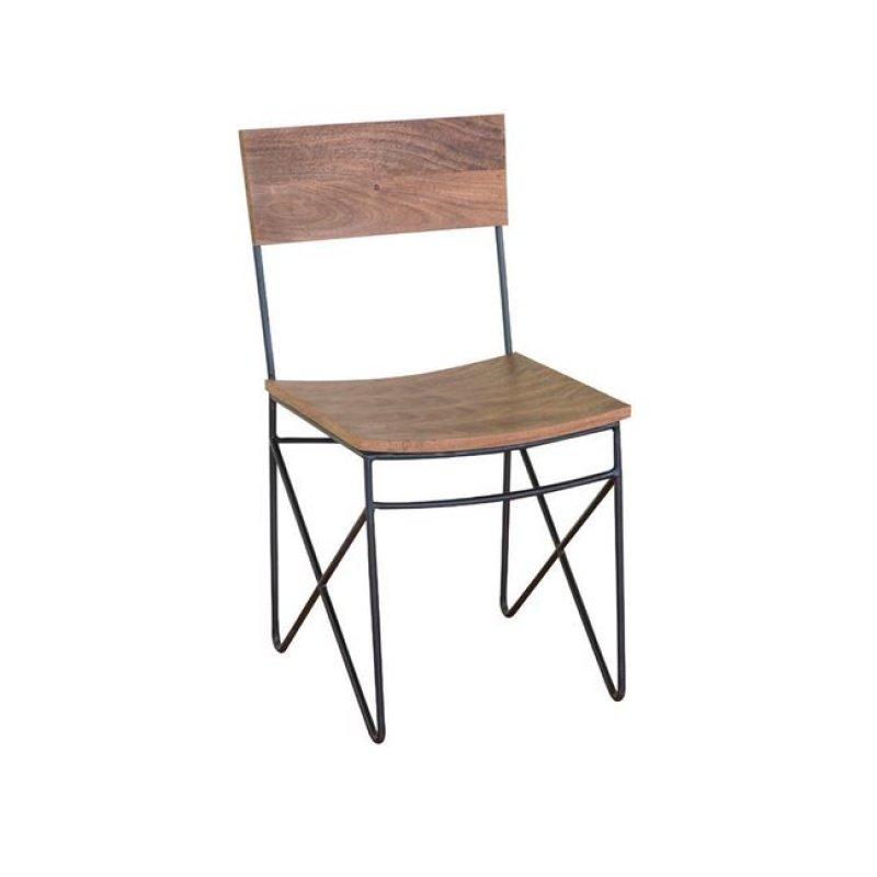 Nagar καρέκλα μαύρη μεταλλική από ξύλο ακακίας