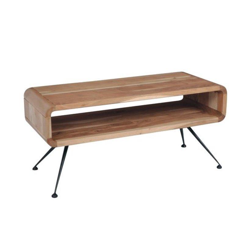Cameo τραπέζι σαλονιού 100x40x45cm ακακία φυσικό χρώμα και μέταλλο μαύρο