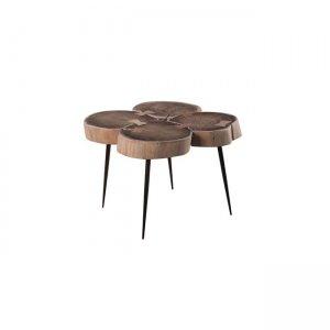 Patel 4 τραπέζι σαλονιού και 55x55x42cm ακακία φυσικό μέταλλο μαύρο