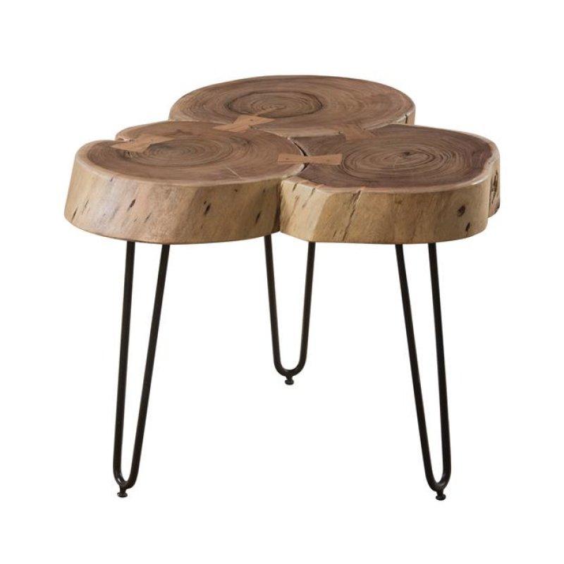 Fuego 3 τραπέζι σαλονιού και 50x50x42cm ακακία φυσικό μέταλλο μαύρο