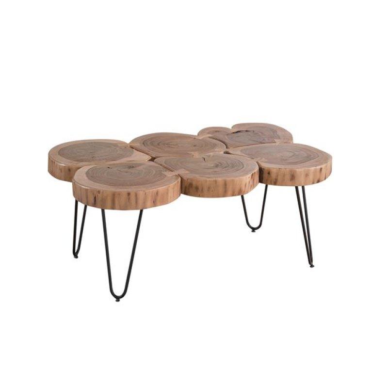 Fuego 6 τραπέζι σαλονιού και 90x60x40cm ακακία φυσικό μέταλλο μαύρο