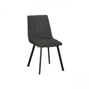 Betty καρέκλα μεταλλική μαύρη με ύφασμα suede ανθρακί