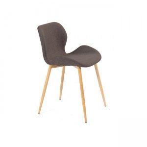 Lilian καρέκλα μεταλλική με βαφή φυσικό με ύφασμα καφέ