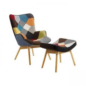 Maron set πολυθρόνα και σκαμπώ, με ύφασμα patchwork