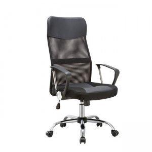 Πολυθρόνα διευθυντή χρώμιο pvc και ύφασμα mesh μαύρο