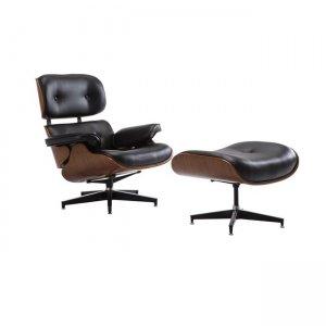 Relax πολυθρόνα με σκαμπώ pu μαύρο