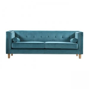Midland καναπές τριθέσιος με ύφασμα βαθύ γαλάζιο velure