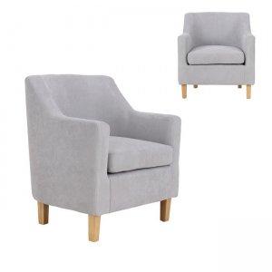 Beta πολυθρόνα με ξύλινα πόδια και ύφασμα σε χρώμα ανοιχτό γκρί 71x71x78εκ