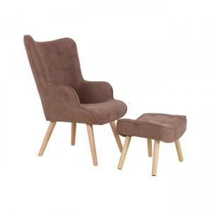 Σετ πολυθρόνα και υποπόδιο retro με ξύλινα πόδια σε σκούρο καφέ χρώμα  69x76x97
