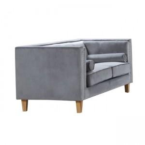 Midland καναπές διθέσιος με ύφασμα ανοικτό γκρι velure