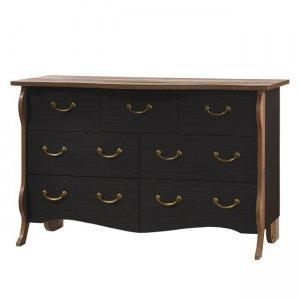 Ρετρό συρταριέρα με επτά συρτάρια σε σκούρο καφέ αντικέ χρώμα και antique οξιά στις άκρες 160x53x92εκ