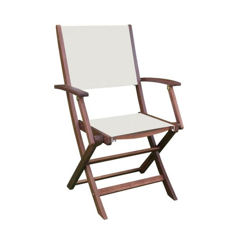 Cricket πολυθρόνα ξύλινη πτυσσόμενη από ακακία με textilene λευκό