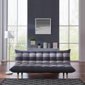 Καναπές κρεβάτι με γκρι ύφασμα Γκρι Ριγέ Vox 189x95x86εκ
