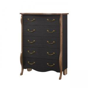 Συρταριέρα με πέντε συρτάρια σε χρώμα ebony οξιά και αντι&ka