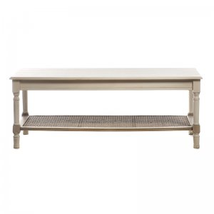 Antique τραπέζι σαλονιού ξύλινο με ρατάν βάση λευκό μπεζ 120Χ60Χ45 εκ