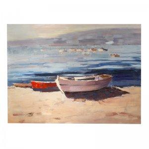 Πίνακας σε καμβά Βάρκες ελαιογραφία 90x120 εκ