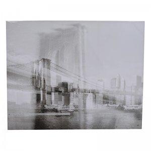 Πίνακας διακοσμητικός Bridge από γυαλί και μέταλλο άσπρο μαύρο 150x4x120 εκ